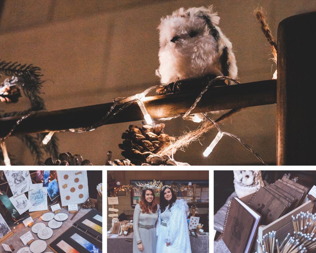 Foto collage del resumen evento de BCN Witch Market con una lechuza decorativa del stand, productos a la venta en el evento, Laura y Cris con el vestuario inspirado en HArry Potter y foto detalle de más productos del stand.