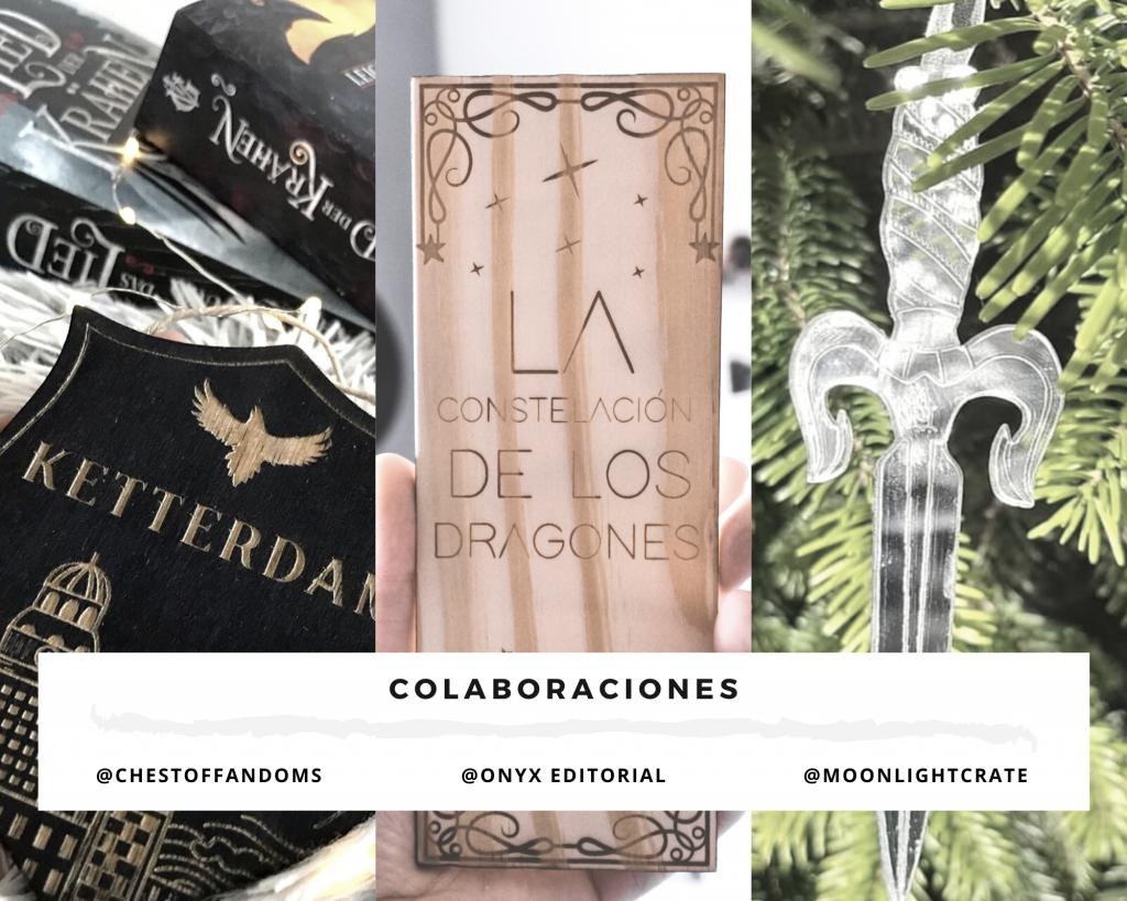 Foto collage de resumen de las colaboraciones de Seasonal Vibe: con un banderín de madera, un marcapáginas de madera y un adorno navideño de una daga