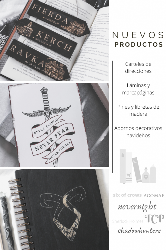 Foto collage de productos de Seasonal Vibe del 2019, como carteles de direcciones, una lámina y un cuaderno de madera con un texto explicativo