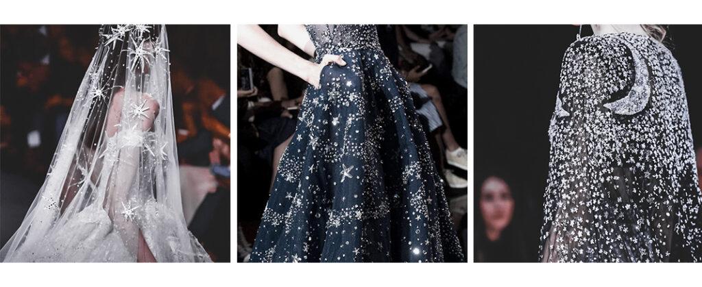 Set de tres imágenes cuadradas de distintos vetsidos. Uno de novia blanco con velo repleto de estrellas brillantes, otro azul con un cielo estrellado y el último un vestido negro con capa cubierta de brillantes haciendo formas de estrellas y lunas.
