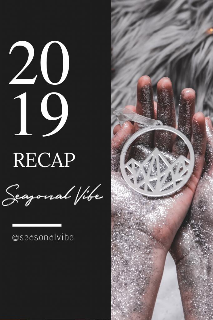 """Foto collage de resumen con una foto de un adorno navideño y un texto que pone """"2019 recap Seasonal Vibe"""""""